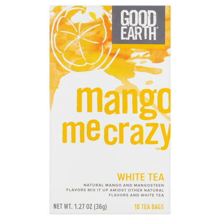 - Good Earth Mango Me Crazy White Tea Bags, 18 count, 1.27 oz, 6 pack