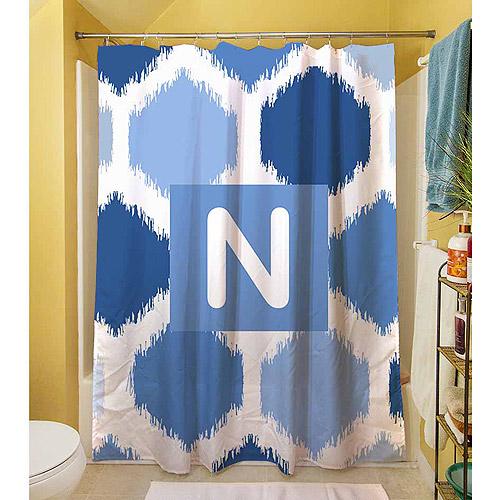 MWW, Inc. Thumbprintz Batik Monogram Blue Shower Curtain
