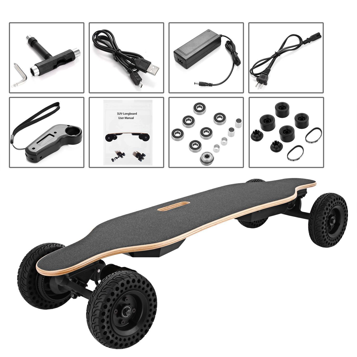 ual Motors 37inch Electric Skateboard with Wireless Handheld Remote Control SUV-Longboard BTC by