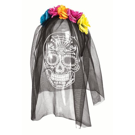 Day Of The Dead Printed Veil Skull Adult Women's Halloween Costume Accessory