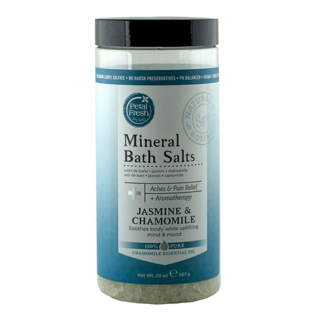 Jasmine Bath Salt - Petal Fresh Mineral Bath Salts Jasmine + Chamomile, 20 oz