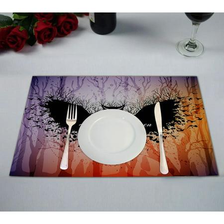 GCKG Animal Placemat, Halloween Owl Night Owl Placemat 12x18 Inch,Set of 2 - Halloween Place Mats
