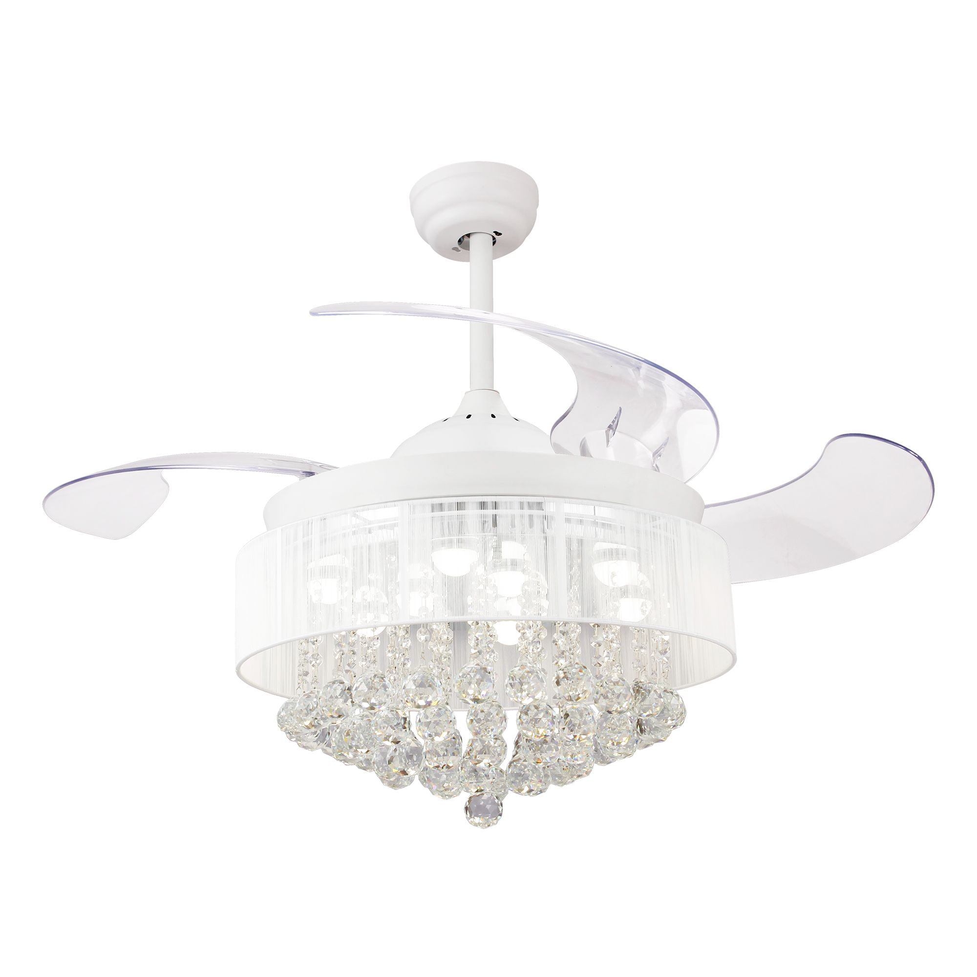 "Chandelier Fan: Ceiling Fans With Lights 42"" Modern White Ceiling Fan"