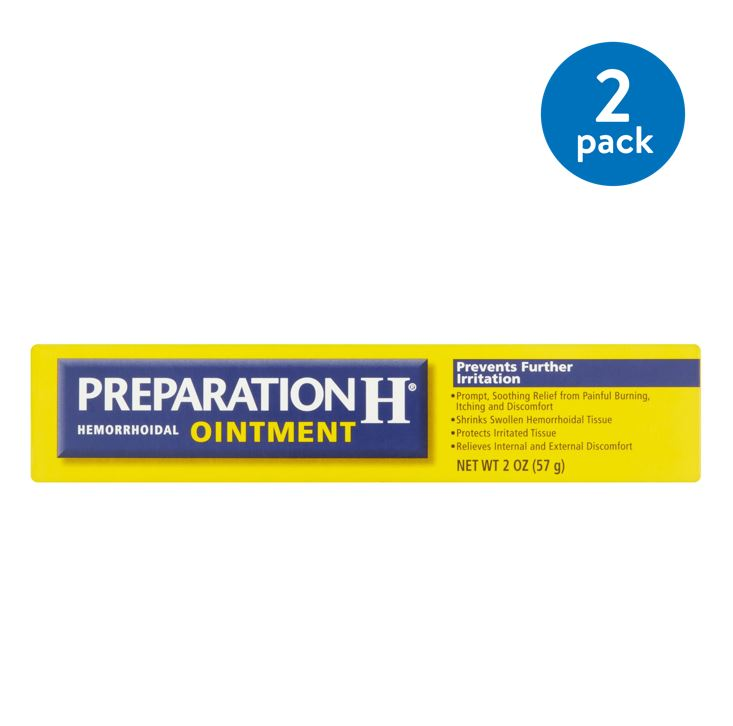 (2 Pack) Preparation H Hemorrhoid Symptom Treatment Ointment (2.0 Ounce), Itching, Burning & Discomfort Relief, Tube