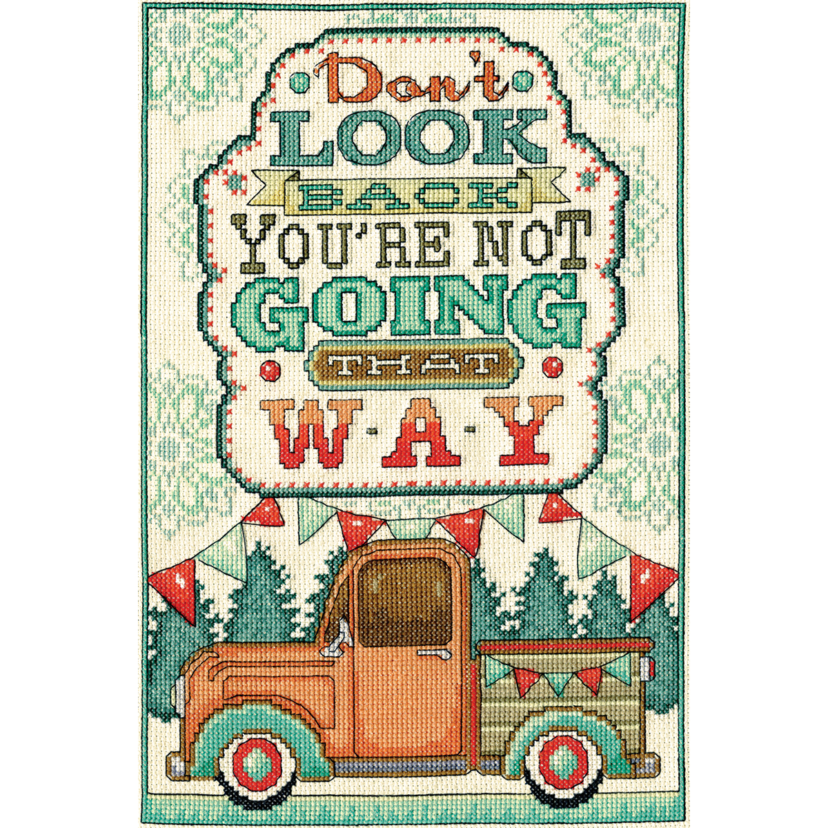 "Don't Look Back Counted Cross Stitch Kit-8""X12"" 14 Count"