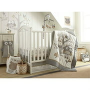 Levtex Baby - Night Owl Crib Bed Set - Baby Nursery Set - Grey, Tan and Cream - Owls in a Tree - 5 Piece Set Includes Quilt, Fitted Sheet, Diaper Stacker, Wall Decal & Crib Skirt/Dust Ruffle