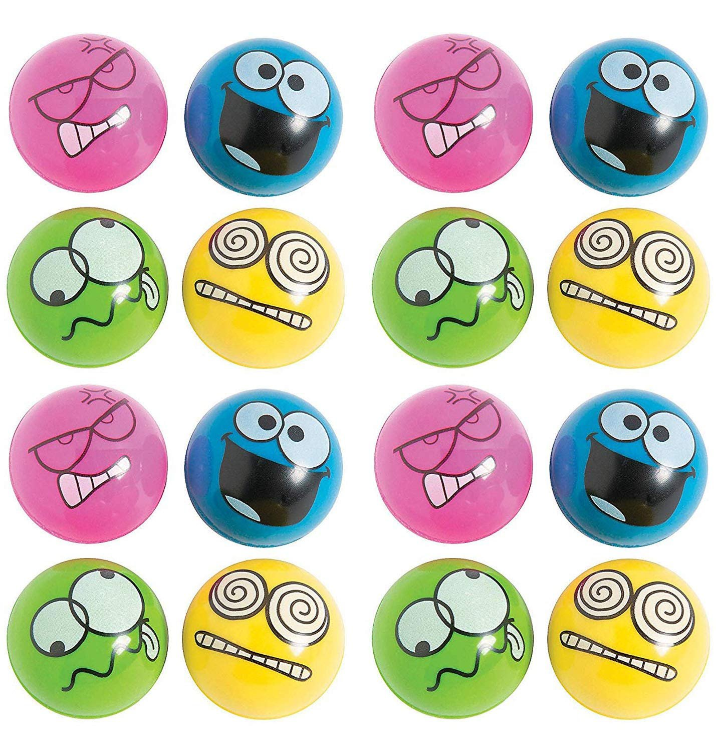 Rubber Emotion Bouncing Balls 1.75 Inches - Pack Of 16 – Assorted Colors Cool Silly Face Bounce Balls – For Kids Great Party Favors, Bag Stuffers, Gift, Prize, Piñata Fillers - By Kidsco