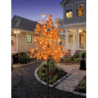 Lightshare LED Lighted Maple Tree - 120 Warm White LED Lights, 5.5 ft, Orange