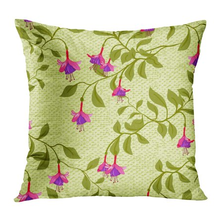 ECCOT Pink Pattern Vintage Fuchsia Flower Fuschia Authentic Bloom Blossom Bouquet PillowCase Pillow Cover 20x20 inch ()