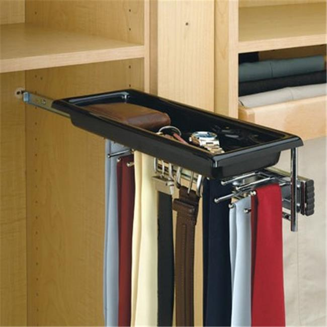 Rev A Shelf Rstbc. 14Tcr Pull-Out Chrome Tie-Belt Rack With Tray