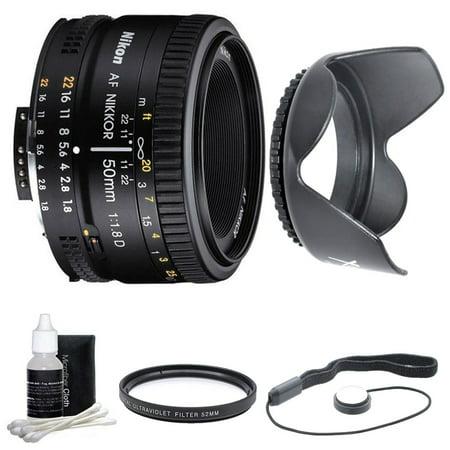 Nikon 50mm f/1.8D AF Nikkor Lens for Nikon Digital SLR Cameras (2137) with 52mm Multicoated UV Protective Filter-offers lens protection & clearer pictures, 52mm Hard Lens Hood, Lens Cap Keeper