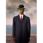 "RENE MAGRITTE Le fils de l'homme (Son of Man) (Mini) 11.75"" x 8.25"" Poster Surrealism Black & White, Red, Green, Gray"