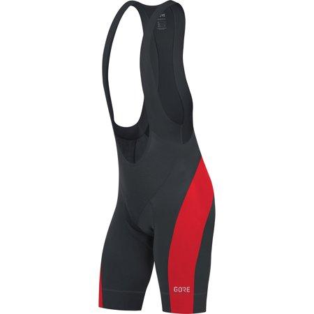 GORE Wear Men's Breathable Road Bike Bib Shorts, With Seat Insert, GORE Wear C5 Bib Shorts +, Size: M, Color: Black/White, 100192 Black/Red (Gore Bike Wear Road Gloves Gtx 1)