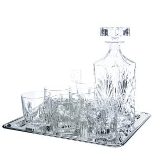 8-Piece Selecta Whiskey Drinkware Barware Drink Set with 6 Double Old Fashioned Glasses, Silver-Plated Rectangular Mirror Tray and Decanter