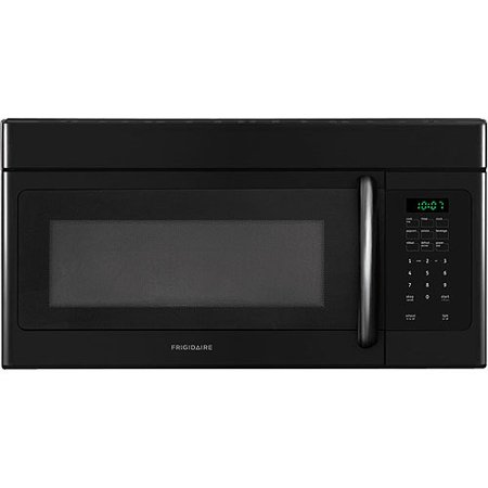 Frigidaire 30  1.6 Cu Ft 1000W Over-the-Range Microwave Oven, Black It has a clock as well as a timer and interior light, while the cooktop light provides light over your stove top while you cook. Use the Frigidaire 1.6 Cu Ft Microwave Oven to cook for the family or to just reheat dinner from the night before for a quick meal. Frigidaire 30  1.6 Cu Ft 1000W Over-the-Range Microwave Oven, Black: Ductless installation option included with this black Frigidaire Microwave OvenDishwasher-safe vent filters1.6 cu ft capacity with 13-1/2  diameter glass turntable1000 watts of cooking power with 10 power levelsReady-select controls with control lock option1-touch options include baked potato, popcorn and beverageAuto-defrost and auto-reheat optionsMulti-stage cooking option allows you to program power levels and cooking times in advanceAdd 30 seconds optionClock, timer, interior light and cooktop light1.6 cu ft microwave oven dimensions: 15 L x 29.9 W x 16.4 H30  over-the-range microwave oven Model# FFMV162LB
