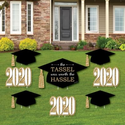 Gold Tassel Worth The Hassle Yard Sign And Outdoor Lawn Decorations 2020 Graduation Party Yard Signs Set Of 8 Walmart Com Walmart Com