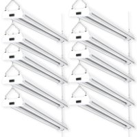 Sunco Lighting 10 Pack 4ft 48 Inch LED Utility Shop Light 40W (260W Equivalent) 5000K Kelvin Daylight, 4500 Lumens, Double Integrated Linkable Garage Ceiling Fixture, Clear Lens - Energy Star / ETL