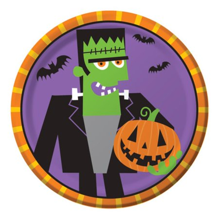 Club Pack of 96 Creepy Characters Fun Frankenstein Halloween Lunch Plates - Fun Movie Characters To Be For Halloween