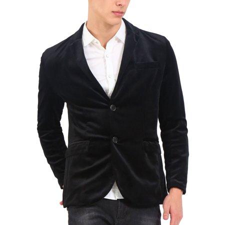 Men Slim Fit Velvet Blazer Notch Lapel Button Sport Coat Jacket - Men In Blazers Halloween