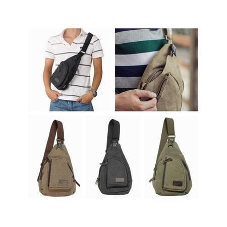 - Men Women Canvas Military Travel Small Unbalance Backpack Sling Bag Chest Bag for Men Shoulder Bag