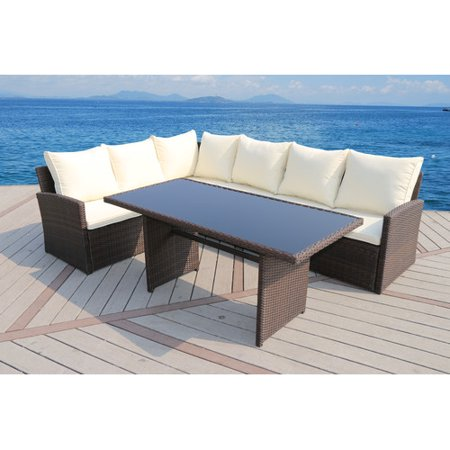 Suntime Outdoor Living Barcelona 3 Piece Rattan Sectional Set With Cushions