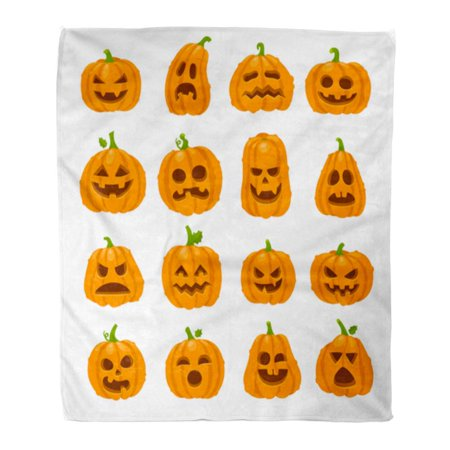 SIDONKU Throw Blanket Warm Cozy Print Flannel Cartoon Halloween Pumpkin Orange Carving Scary Smiling Cute Glowing Faces Gourd Comfortable Soft for Bed Sofa and Couch 58x80 Inches