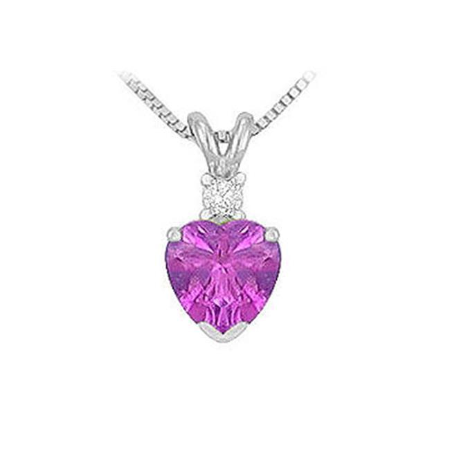 Fine Jewelry Vault SCPDVHT600AMW Diamond and Amethyst Solitaire Pendant - 14K White Gold - 1. 00 CT TGW
