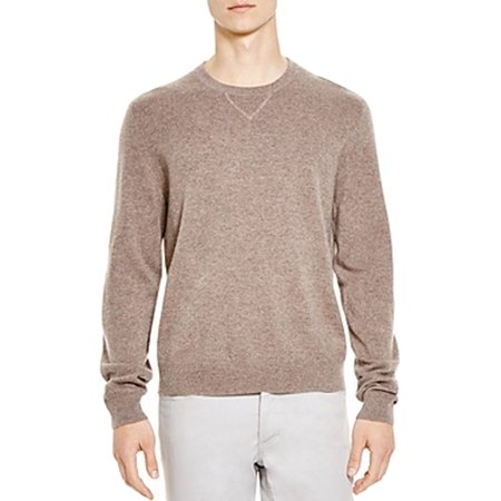 (Bloomingdale's NEW Almond Beige Mens Size XL Crewneck Cashmere Sweater)