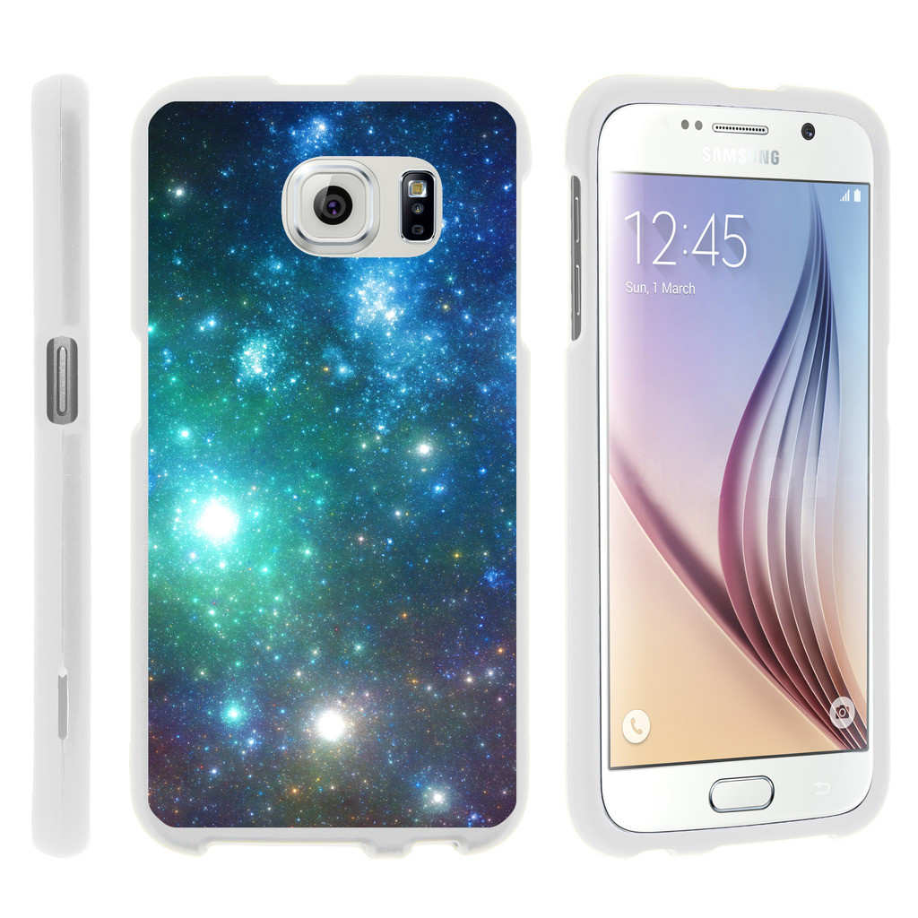 Samsung Galaxy S6 Edge G925, [SNAP SHELL][White] Hard White Plastic Case with Non Slip Matte Coating with Custom Designs - Colorful Galaxy Specs