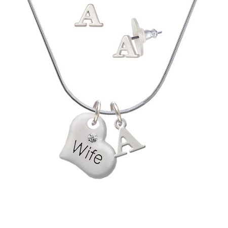 (Large Wife Heart - A Initial Charm Necklace and Stud Earrings Jewelry Set)