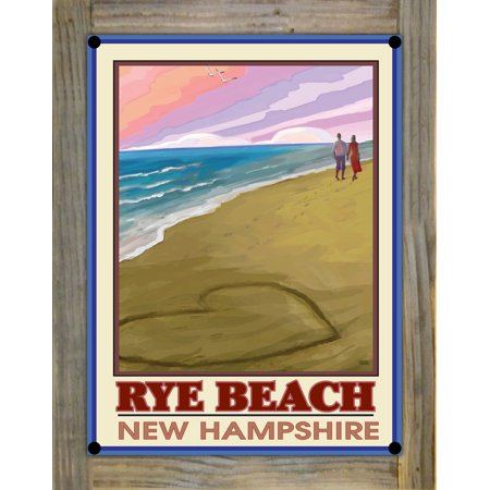 Rye Beach New Hampshire Love On Coast Metal Print On Reclaimed Barn