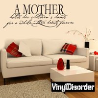 A mother holds her children's hands for a while …their hearts forever Family and Friends Vinyl Wall Decal Mural Quotes Words FA006AmotherI 36 Inches