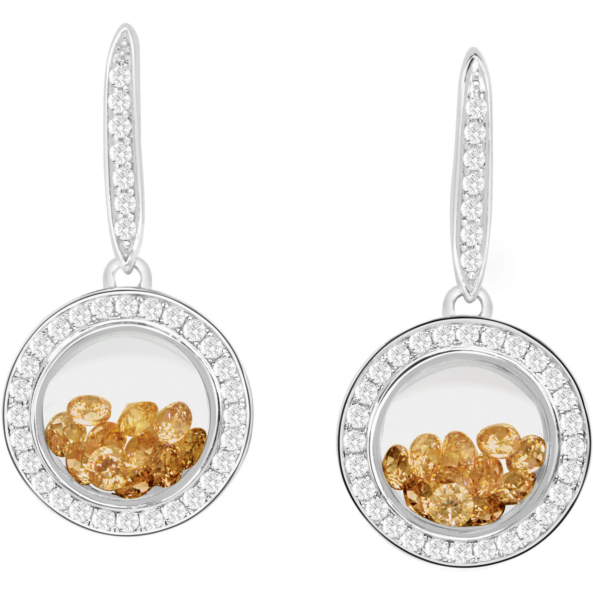 Chetan Collection Floating Champagne CZ Sterling Silver Designer Earrings