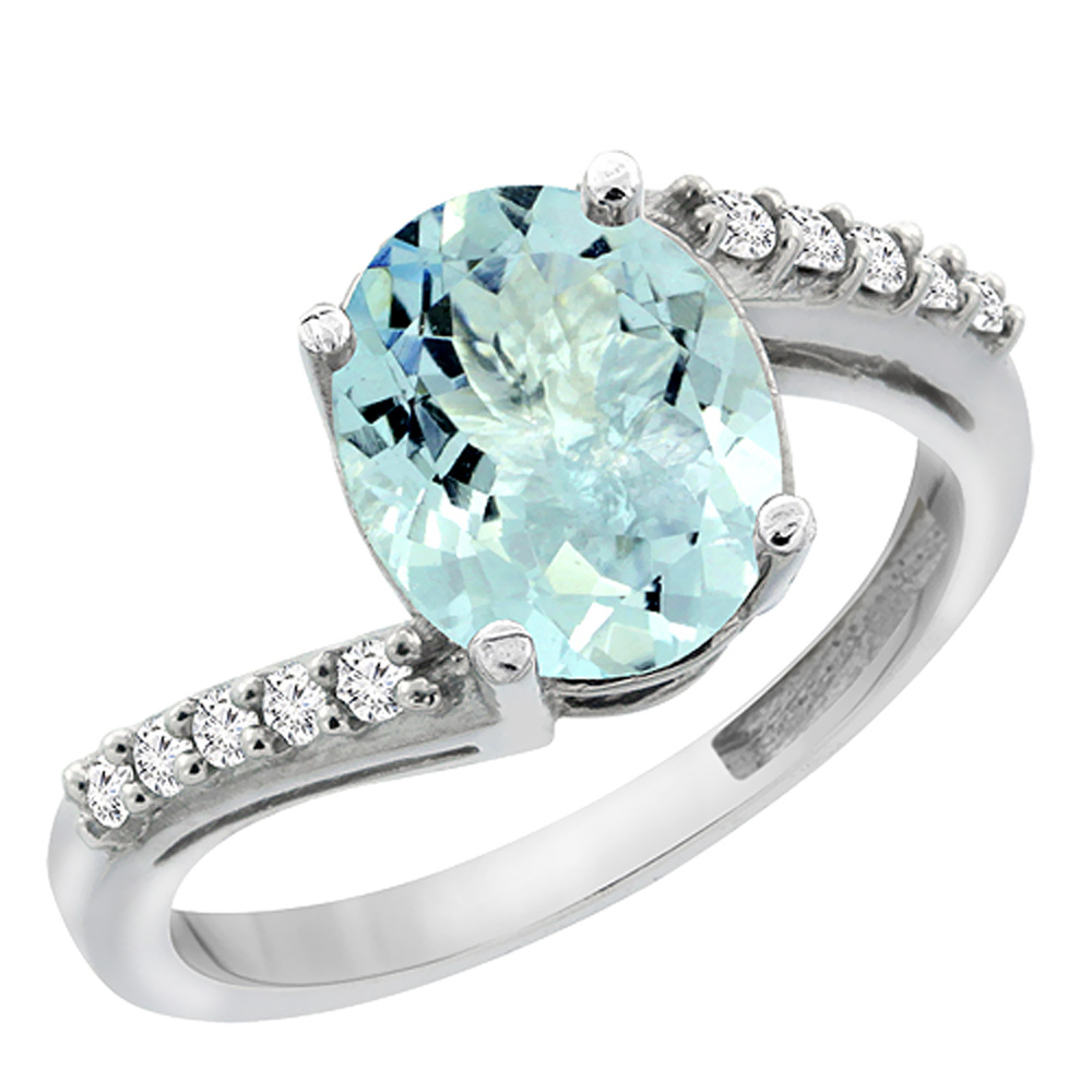 14K White Gold Diamond Natural Aquamarine Engagement Ring Oval 10x8mm, size 6 by Gabriella Gold