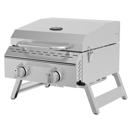 Expert Grill 2 Burner Tabletop Propane Gas Grill in Stainless Steel