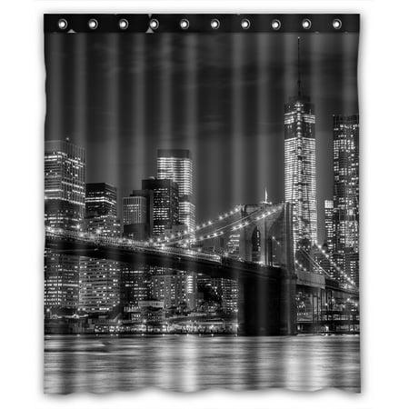 Ykcg Brooklyn Bridge Cityscape Manhattan Skyline Night Waterproof