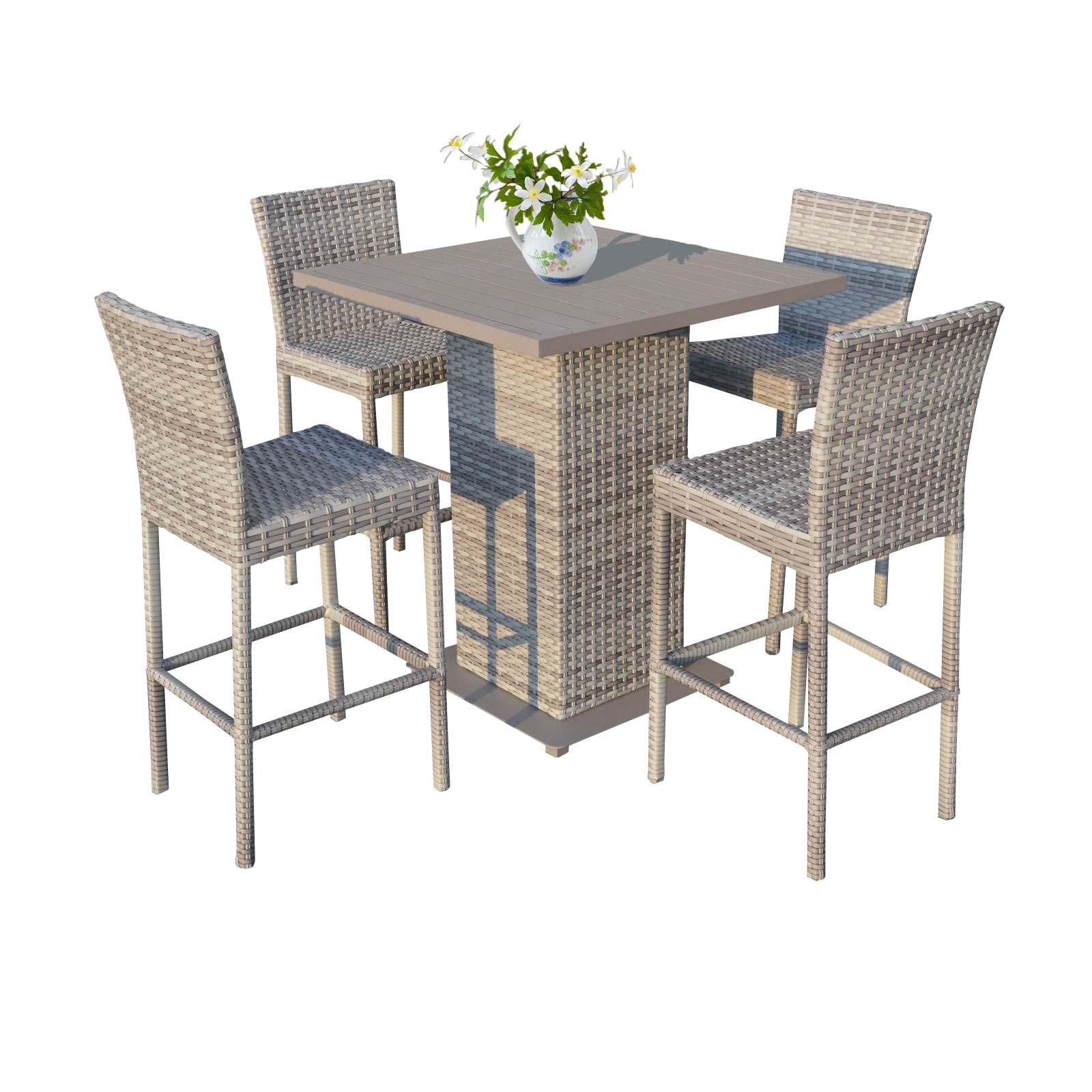 New Haven Pub Table Set With Barstools 5 Piece Outdoor Wicker Patio Furniture