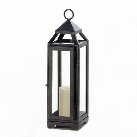 Candle Lantern, Outdoor Decorative Patio Tall Slate Black Metal Candle Lantern
