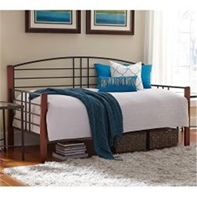 Fashion Bed Group B50729 Dayton Complete Metal Day Bed with Link Spring & Trundle Bed Pop-Up Frame, Black Grain Twin... by Fashion Bed Group