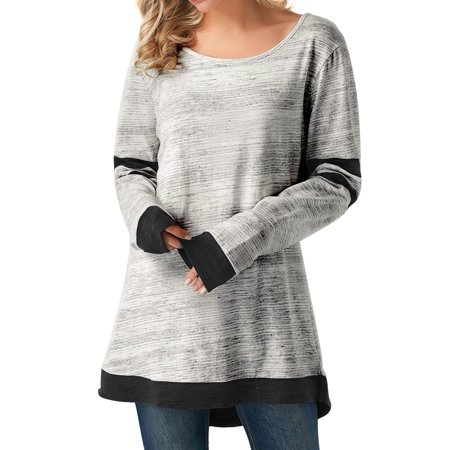 Nlife Women's Long Sleeve Round Neck Color Stitching Tops