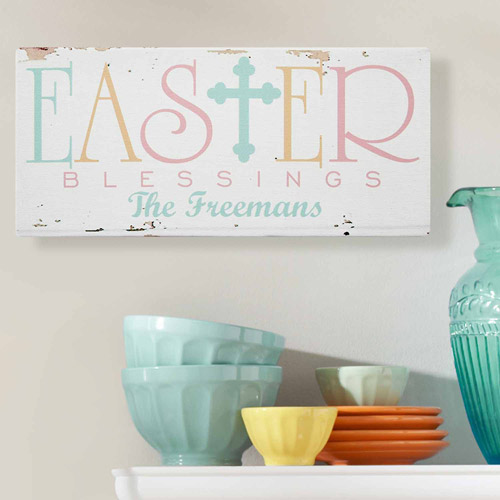 "Personalized Colorful Easter Blessings Canvas, 5"" x 11"""