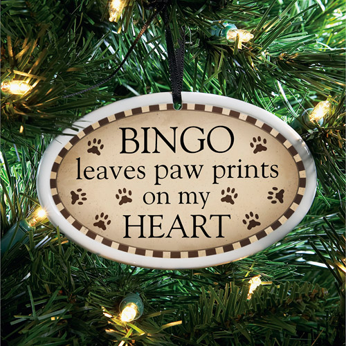 Personalized Paw Prints Ceramic Oval Ornament