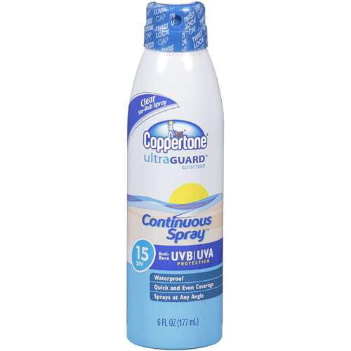 Coppertone Ultra Guard Sunscreen Continuous Spray SPF 15 , 6 fl oz