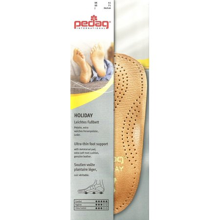 pedag® HOLIDAY® Semi-Rigid Orthotic Insole 3/4 Length Extra Thin Metatarsal Heat Moldable Vegetable Tanned Leather Brown Size (Best Pedag Insoles)