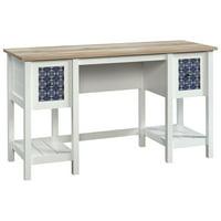 Sauder Cottage Road Writing Desk in Soft White and Lintel Oak