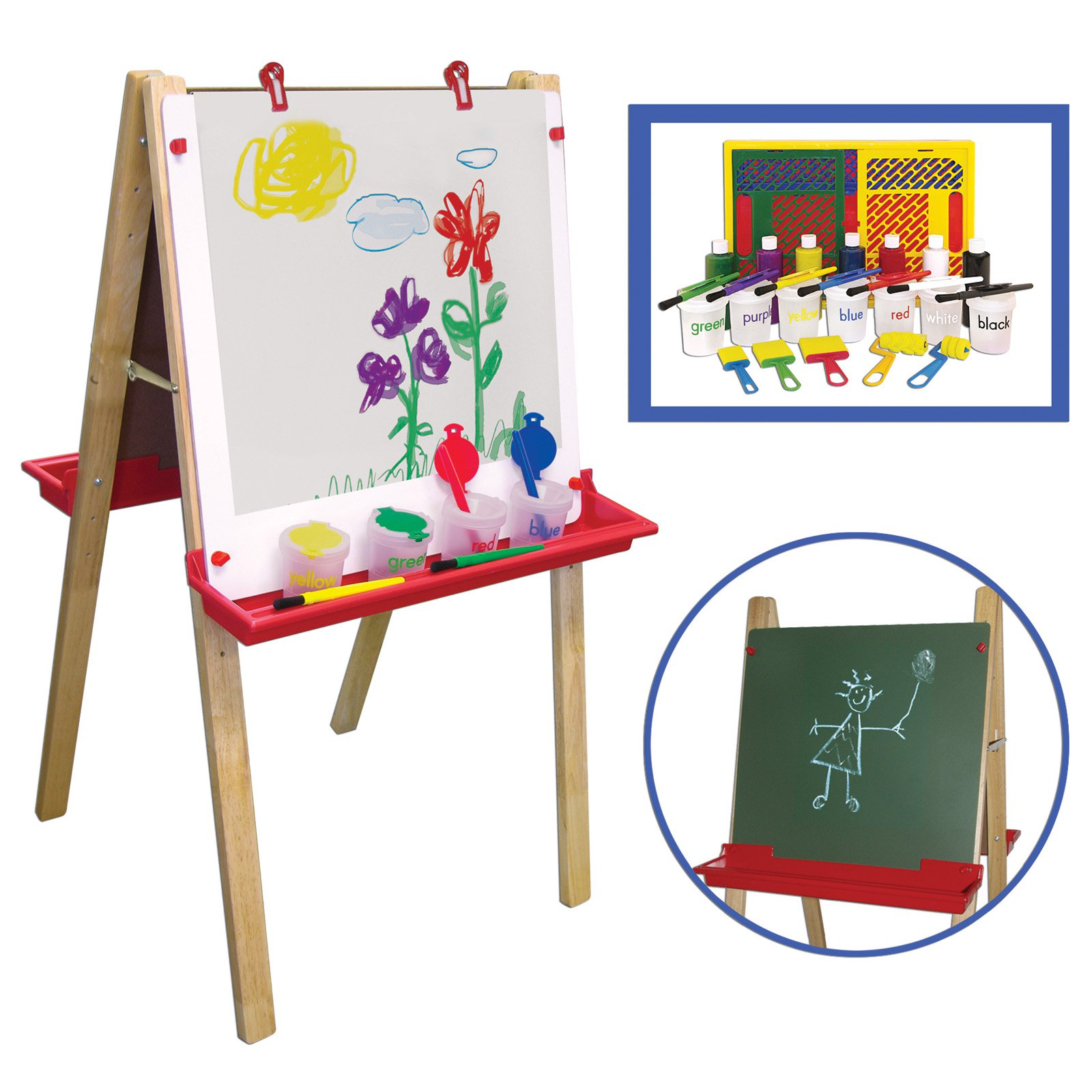 ECR4KIDS Adjustable 2 Sided Floor Easel with Paint Set