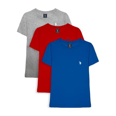 U.S. Polo Assn. Boys Crew Neck T-Shirt, 3-Pack, Sizes XXS-XL