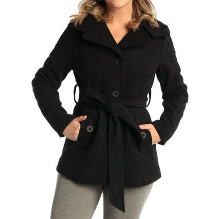 Flap Pocket Wool Blazer - Bella Women's Belted Blazer Button Up Wool Coat Funnel Neck Jacket Black Medium
