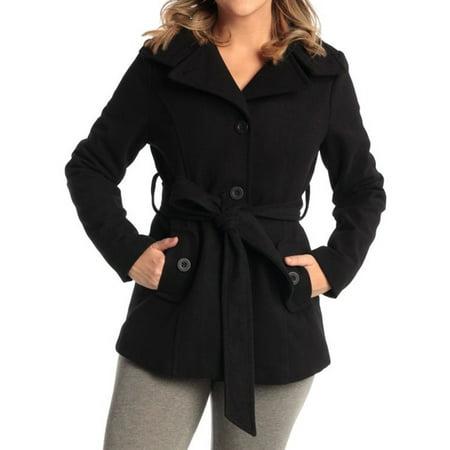 Worsted Wool Blazer - Alpine Swiss Bella Women's Belted Blazer Button Up Wool Coat Funnel Neck Jacket Black Medium