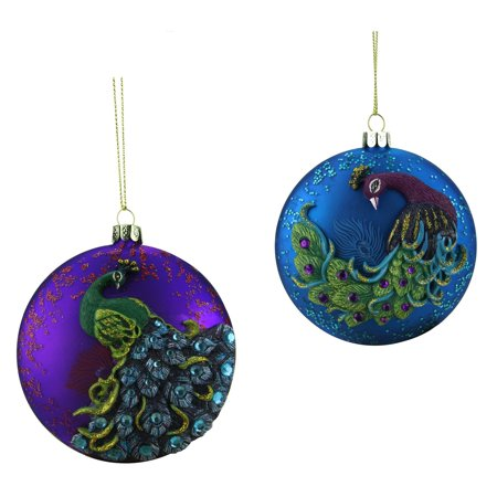- Northlight Regal Peacock Blue Glittered Glass Disc Christmas Ornament
